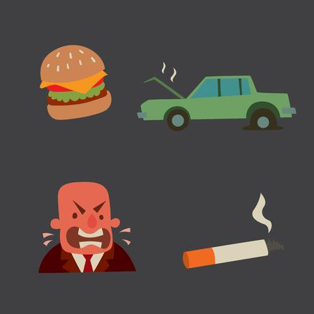 health problems: Businessman heart risk man heart attack stress infarct vector illustration smoking drinking alcohol harmful depression dizziness health problems
