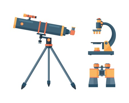 Telescope for astronomy science space discovery instrument vector illustration. Stok Fotoğraf - 72407459