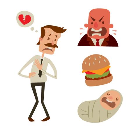 Businessman heart risk man heart attack stress infarct vector illustration. Illustration