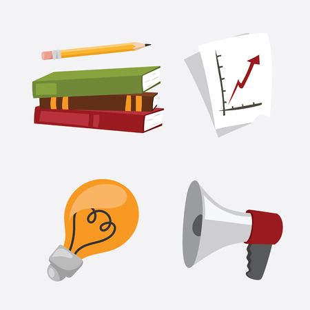 business stress isolated vector illustration office life concept bullhorn meeting report lamp idea calculator book notebook graph diagram Illustration