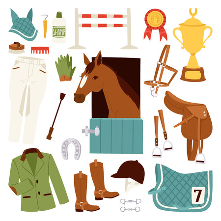 Flat color jockey icons set with equipment for horse riding isolated and horseshoe saddle sport race equestrian stallion barrier vector illustration Vetores
