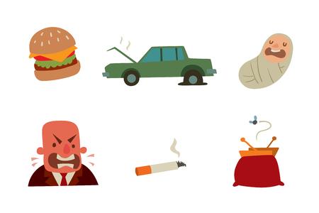 ビジネスマンの心リスク男心臓発作ストレス梗塞ベクトル図喫煙飲酒アルコール有害なうつ病めまい健康問題