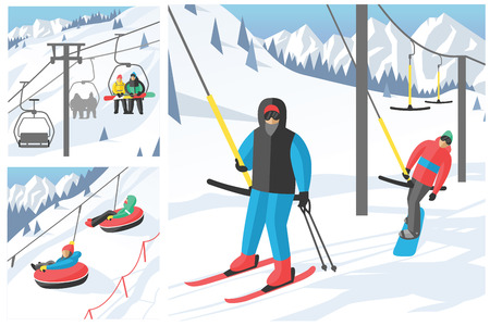 chairlift: Snowboarder sitting in ski gondola and lift elevators winter sport resort snowboard people rest lifting jump vector illustration mountain