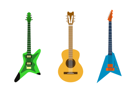 Electric guitar vector icons set isolated illustration guitars silhouette music concert sound fun melody retro musical bass object classic jazz