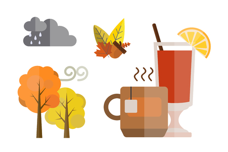 collection of autumn set items the fall acorn leaves tree rain clouds cold weather red yellow colors tea mulled wine vector illustration