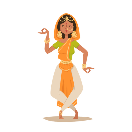 Indian woman dancing vector isolated dancers silhouette icons people India dance show party movie, cinema cartoon beauty girl sari illustration