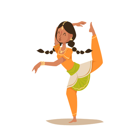 young asian girl: Indian woman dancing vector isolated dancers silhouette icons people India dance show party movie, cinema cartoon beauty girl sari illustration