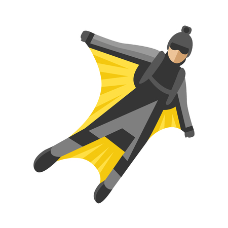 Skydiver man foreground extreme sport freedom flat character vector illustration skydive skydiving people extreme falling jump speed adrenaline flying Illustration