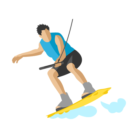 Man wakeboarding in action summer fun hobby water sport character vector illustration extreme boardwakeboard surfing wave wakeboarder jump wake splash