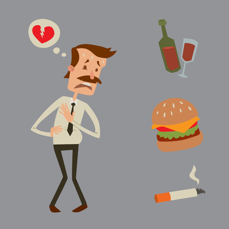 angina: Businessman heart risk man heart attack stress infarct vector illustration smoking drinking alcohol harmful depression dizziness health problems