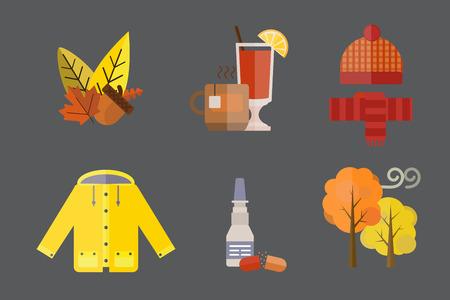 가을, 옷, 컬렉션, 항목, 가을, 도토리, 단풍, 모자, 스카프, 장갑, 코트, 비옷, 파카, 양말, 부팅, mulled 와인 벡터 일러스트 레이션