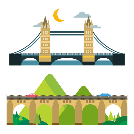 Modern bridge flat pictogram business architecture urban city travel marketing concept and trendy construction design building simple vector illustration.