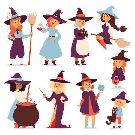 night dress: Cute little witch with broom cartoon cat for print on bag magic halloween card and fantasy young girls character in costume hat vector illustration. Illustration
