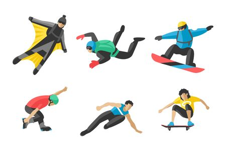 Vector snowboard jumping extreme athletes silhouettes illustration life skateboard set speed skydiver skateboarder skate wakeboard surfing flyboard Stock Photo