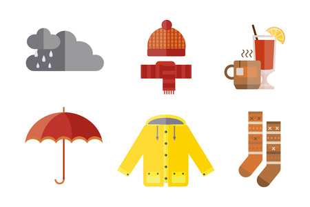 verzameling herfst kleding set items de herfst regen wolken koud weer rood geel kleuren hoed sjaal handschoenen jas regenjas parka thee sokken laarzen warme wijn vector illustratie