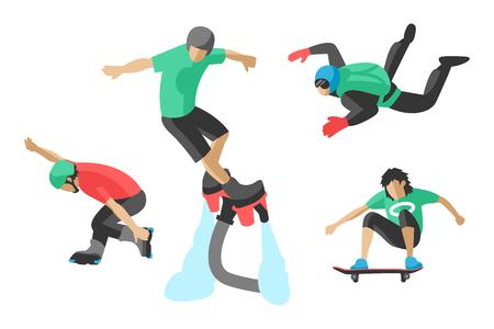 Vector drawing jumping extremesilhouettes illustration life skateboard set speed skydiver skateboarder roller skate wakeboard surfing flyboard