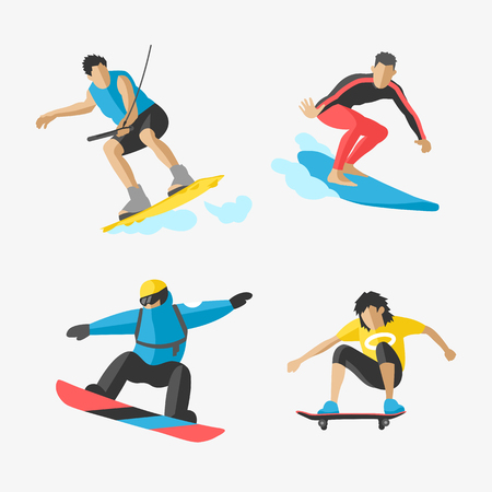 Vector snowboard jumping extreme athletes silhouettes illustration life skateboard set speed skydiver skateboarder skate wakeboard surfing flyboard Illustration
