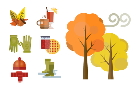 collection of autumn clothes set items the fall acorn leaves tree hat scarf gloves coat raincoat parka socks boots mulled wine vector illustration