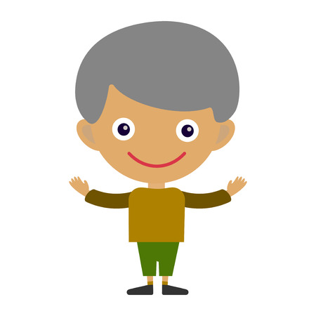 happyness: Boy portrait fun happy young expression cute teenager cartoon character and happyness little kid flat human cheerful joy casual childhood life vector illustration. Illustration