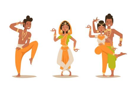 Indio, mujer, hombre, bailando, vector, aislado, bailarines, silueta, iconos, gente, India, danza, espectáculo, fiesta, película,