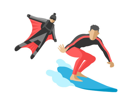 Vector snowboard jumping extreme athletes silhouettes illustration life set speed skydiver wakeboard surfing flyboard skydiving adrenaline flying