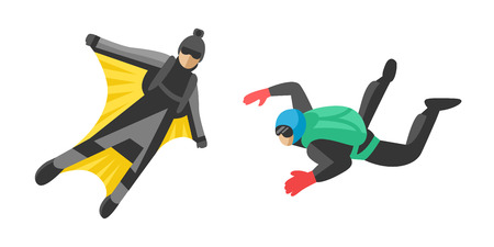 Skydiver man parachutist extreme sport freedom flat character vector illustration parachute skydiving extreme falling jump speed adrenaline flying