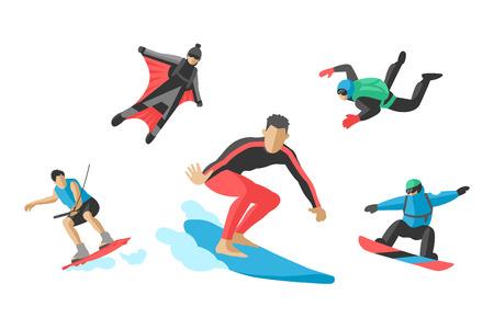 roller skating: Vector jumping extreme athletes silhouettes illustration life skateboard set speed skydiver skateboarder roller skate wakeboard surfing flyboard
