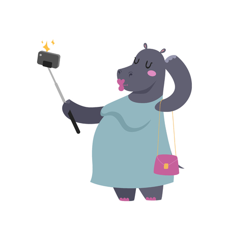 Funny picture photographer mamal person take selfie stick in his hand and cute hippo.
