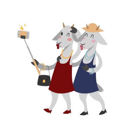 Funny picture goats photographer mamal person take selfie stick in his hand and cute animal. Illustration