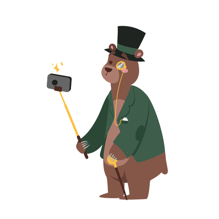 Funny picture bear photographer mamal person take selfie stick in his hand and cute animal.