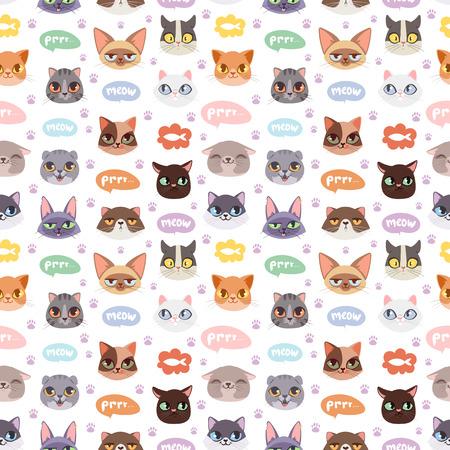 猫のヘッド図シームレス パターンをベクトルします。 写真素材 - 74262174
