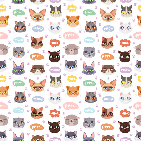 Cats vector heads illustration seamless pattern Çizim