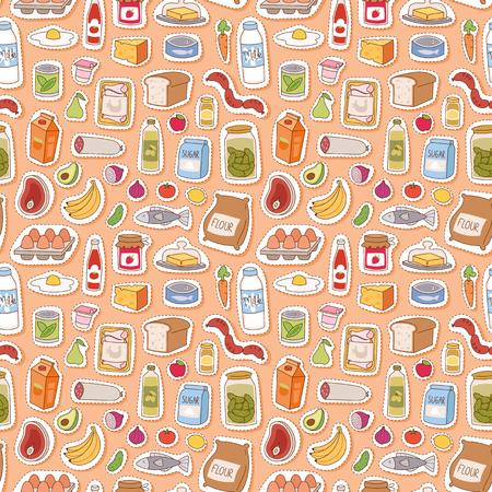 日常食品アイコン パッチワークのシームレスなパターン ベクトル  イラスト・ベクター素材