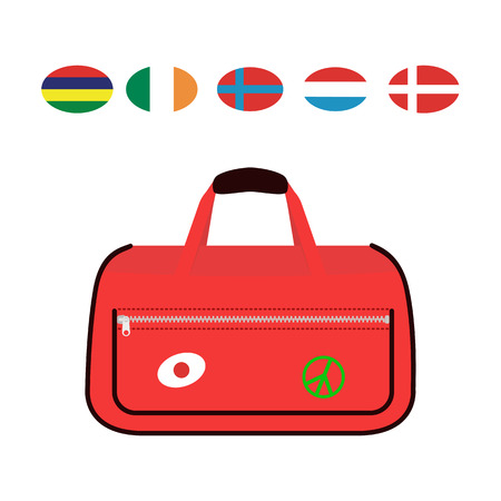 suitcase packing: Travel tourism fashion baggage or luggage vacation handle leather big packing briefcase and voyage destination case bag on wheels vector illustration.