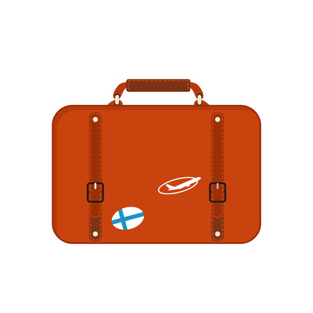Travel tourism fashion baggage or luggage vacation handle leather big packing briefcase and voyage destination case bag on wheels vector illustration.