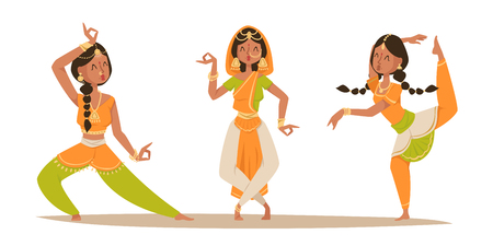 Indian woman dancing vector isolated dancers silhouette icons people India dance show movie, cinema cartoon beauty girl sari illustration asia