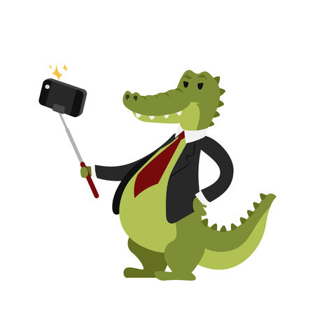 Funny picture crocodile photographer mamal person take selfie stick in his hand and cute animal taking a selfie together with smartphone camera vector illustration.
