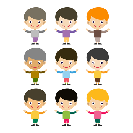 Boy portrait fun happy young expression cute teenager cartoon character and happyness little kid flat human cheerful joy casual childhood life vector illustration. Illustration