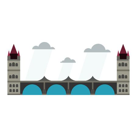 Modern bridge flat pictogram business architecture urban city travel marketing concept and trendy construction design building simple vector illustration.