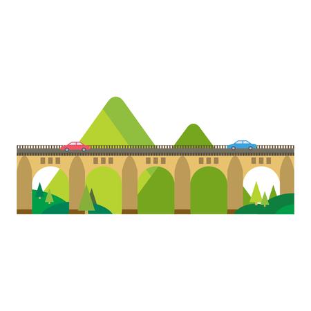 concept de pont moderne architecture commerciale pictogramme plat marketing Voyage ville urbaine et la conception de la construction à la mode construction simple illustration vectorielle.