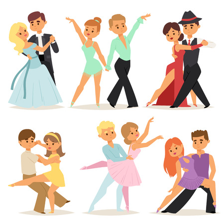 Dancing couples romantic person and people dance man with woman entertainment together beauty vector illustration. Ilustracja