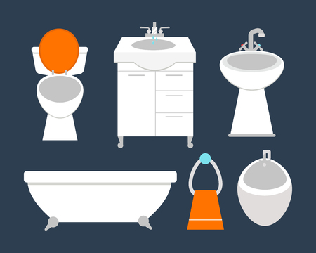 Bathroom icons colored set with process water savings symbols hygiene collection and clean household washing cleaning beauty dryer vector illustration.