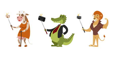 Funny picture photographer mamal person take selfie stick in his hand and cute animal taking a selfie together with smartphone camera vector illustration. Illustration