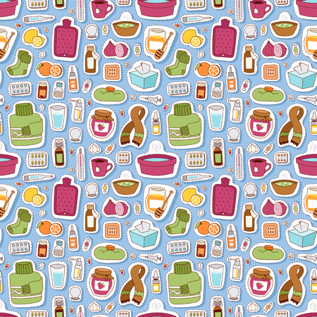 influenza: Flu influenza icons vector seamless pattern