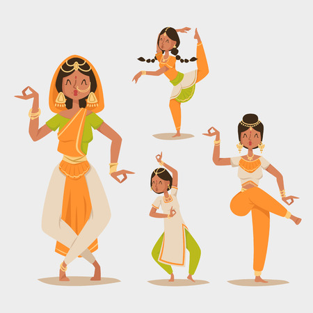 young asian girl: Indian woman dancing vector isolated dancers silhouette icons people India dance show party movie, cinema cartoon beauty girl sari illustration asia