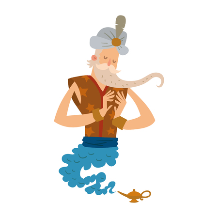 Cartoon genie character magic lamp flat vector illustration treasure arabian aladdin miracle djinn coming out on white background legend wizard