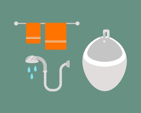 Geplaatste badkamers de pictogrammen plaatsten met de besparingensymbolen van het proceswater de hygiënepidet en de schone wasdroogheids vectorillustratie van de huishoudenwas schoonmakende schoonheid. Stock Illustratie