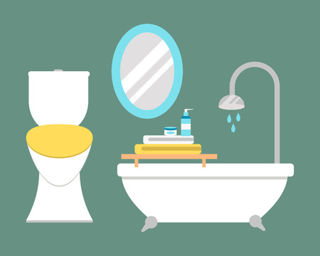 bathroom interior: Bathroom icons colored set with process water savings symbols hygiene collection and clean household washing cleaning beauty dryer vector illustration.