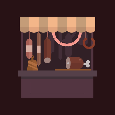 Meat shop stall with meats products