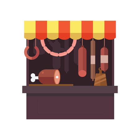 Meat shop stall with meats products Stock Vector - 85442460
